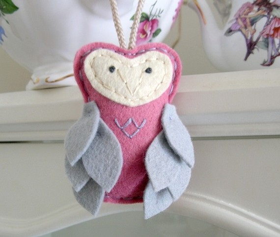 Little Miss Whisper - Hanging Felt Owl Plush Ornament in Pink and Gray by OrdinaryMommy