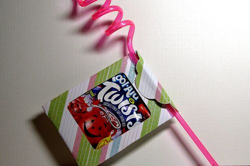 Kool aid tag with straw