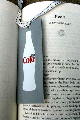 diet coke bookmark with matching ribbon