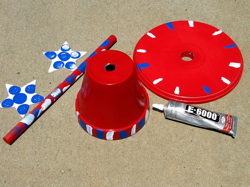 Patriotic father's day gift sun dial painted red white and blue
