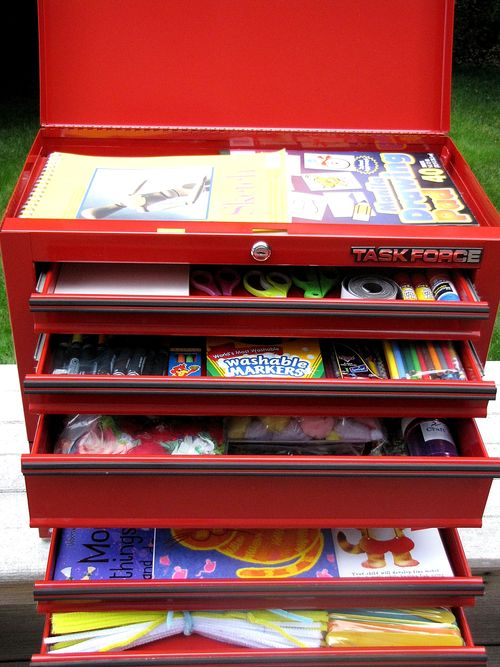 Cub scout belt loop art tool box peek into drawers