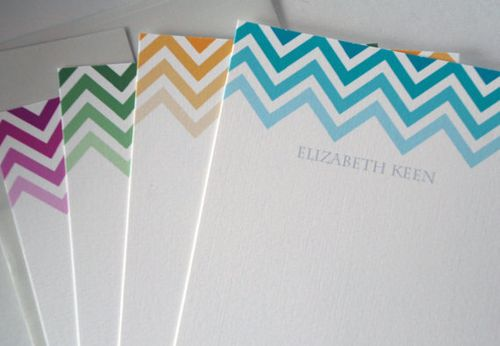 Chevron personalized stationary from rowhouse 14