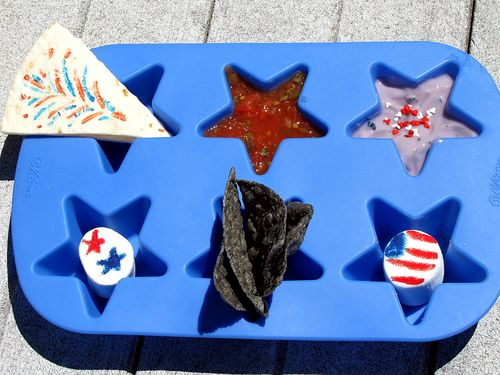 Fourth of july patriotic red white and blue muffin tin lunch themed food