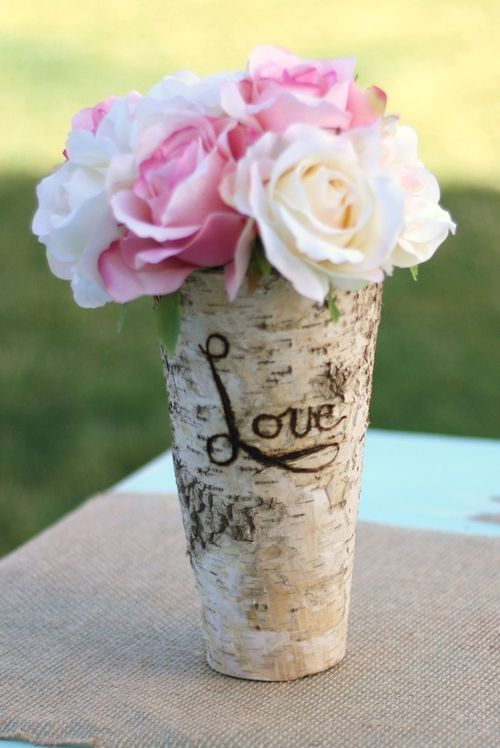 Vase birch bark engraved from braggin bags
