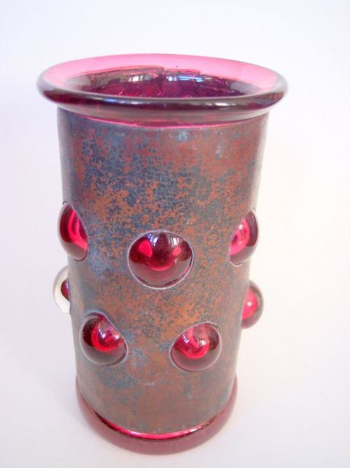 Vase copper and hand blown glass from providence art glass