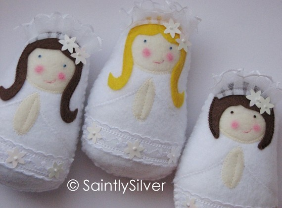 First communion saintly silver felty dolls