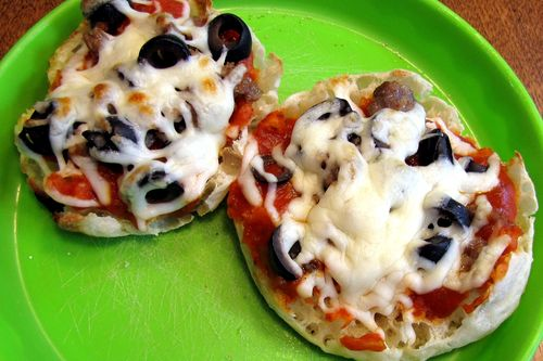 English muffin tin pizza finished