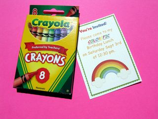 Rainbow party invites with crayons