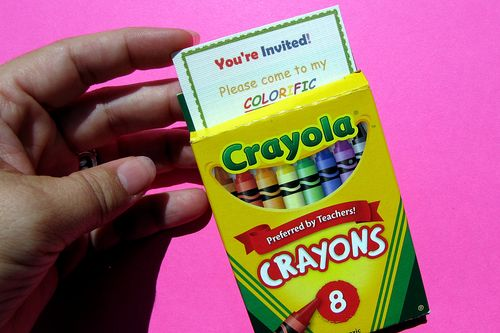 Raibow party invite slides into crayon box