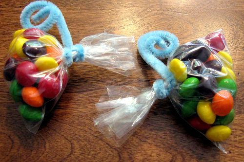 Rainbow skittles butterfly party favors baggies