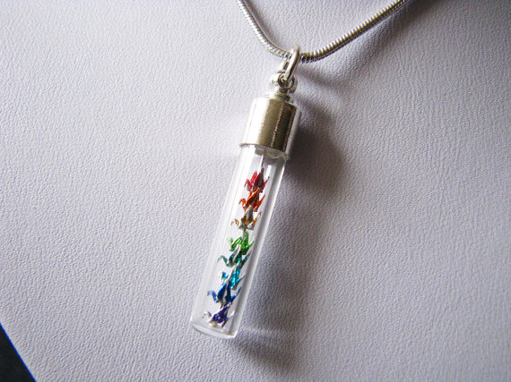 Etsy rainbow mini crane necklace from Paper Peaches