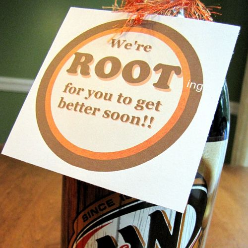 Rootbeer get well present closeup of printable
