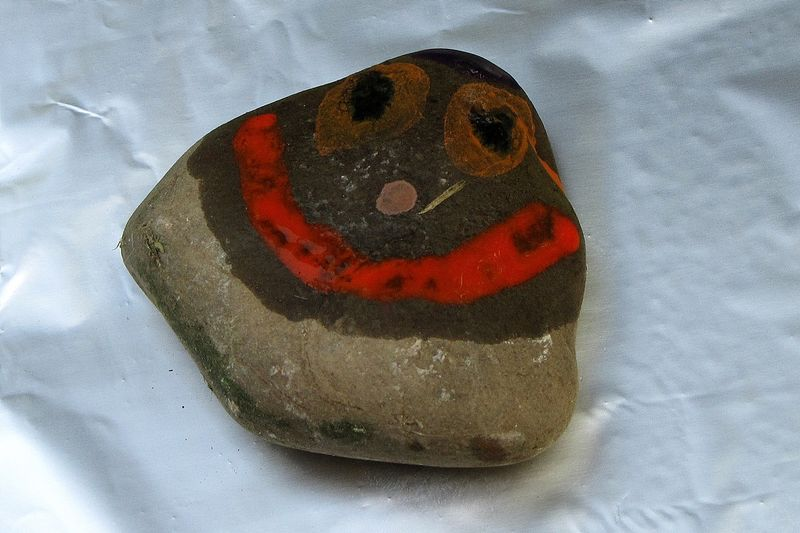 Rainbow rock smilely face