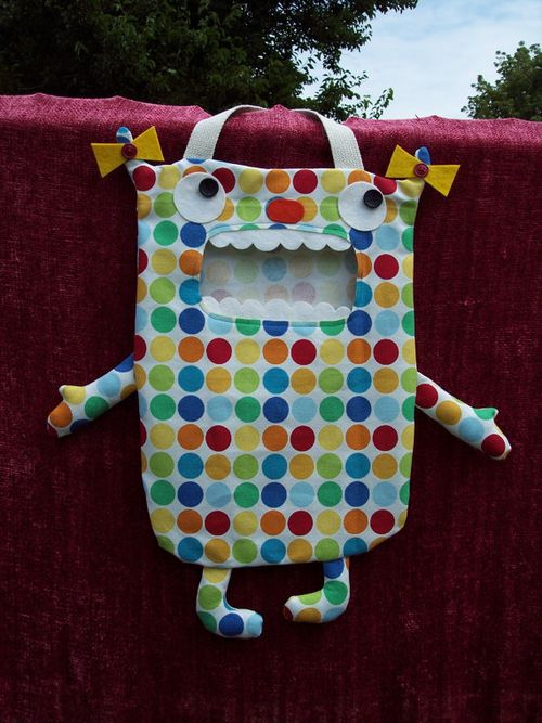 Trick or treat candy monster bag from doves nest designs