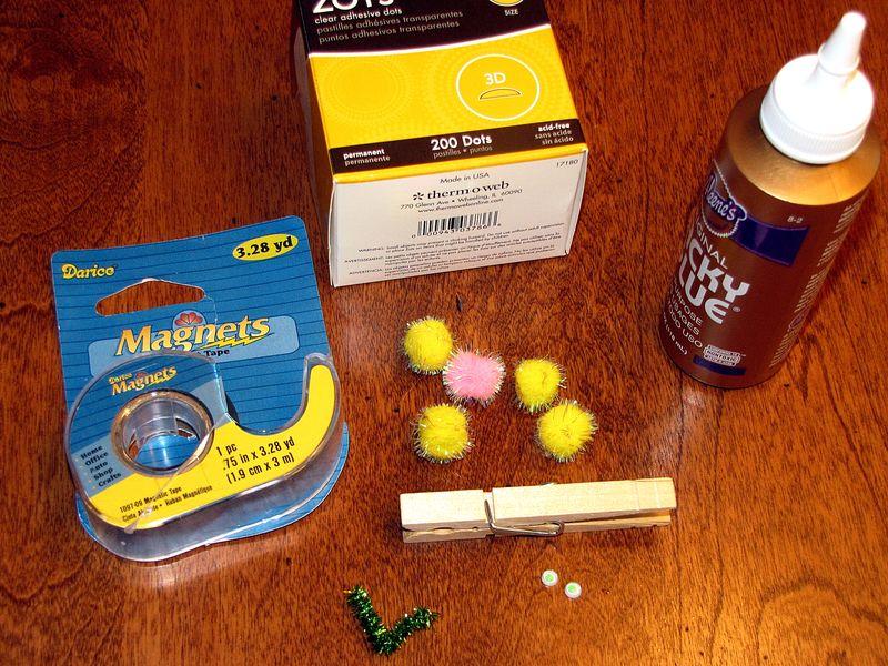 Clothespin caterpillar supplies
