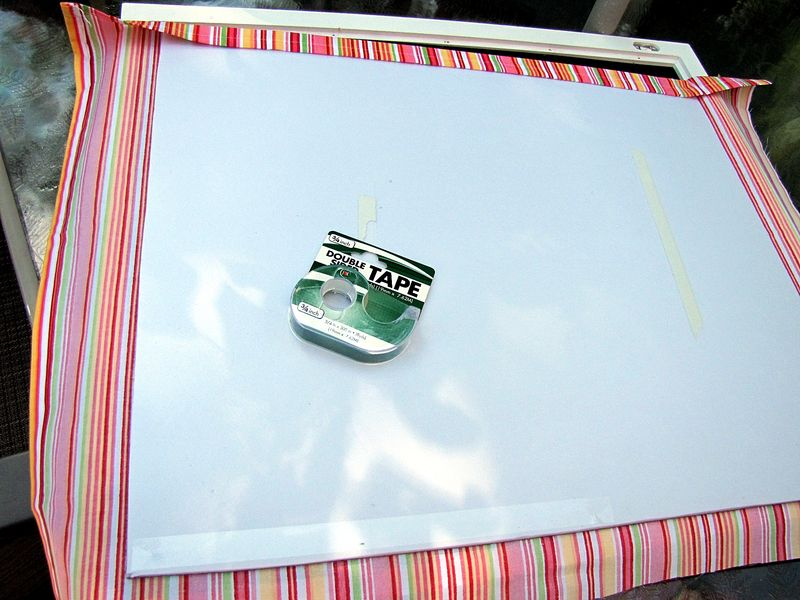 Bulletin board with double stick tape