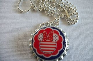 Fourth of july minnie mouse bottle cap neckace from  Presents by patience