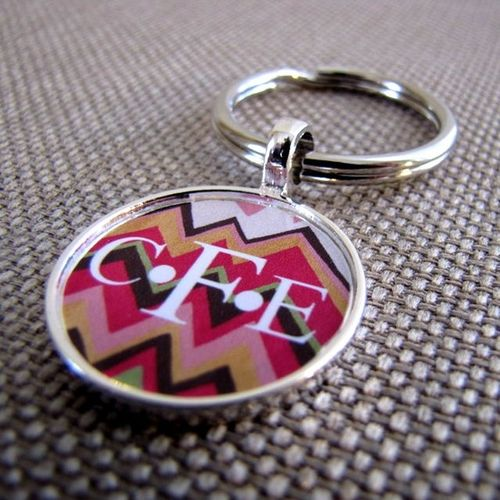 Chevron personalized keychain from sofa city sweethearts