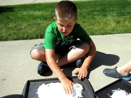 Shaving cream paint cub scout art belt loop step 2