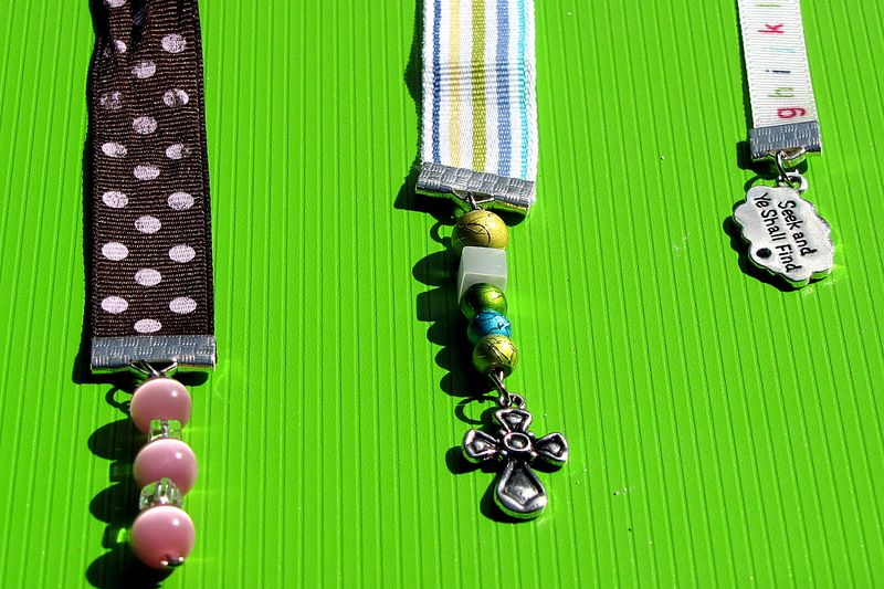 Christmas in july part 2 ribbon bookmark closeup of beads