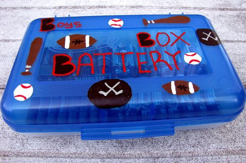 Christmas in July sports painted personalized school box for batteries gift
