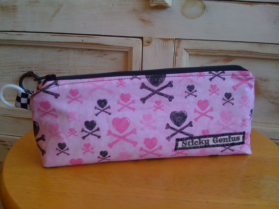 Back to school hearts and crossbones pencil case from sticky genius