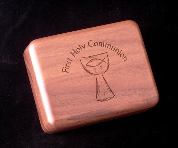 First Communion walnut box from forever etchings
