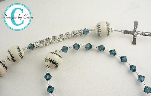 First communion personalized baseball rosary
