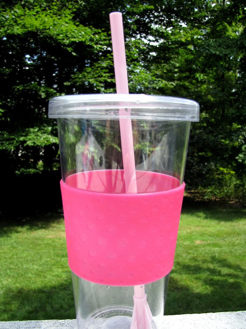 Customer service pink cup with light pink straw replacement