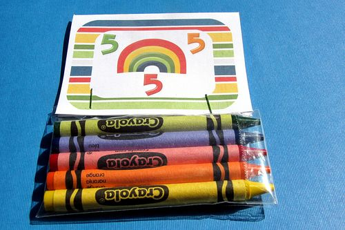 Rainbow crayon class party favor