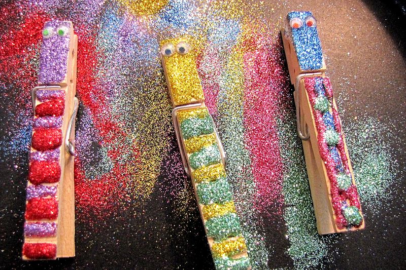 Rainbow skittle butterfly glittered clothespin body