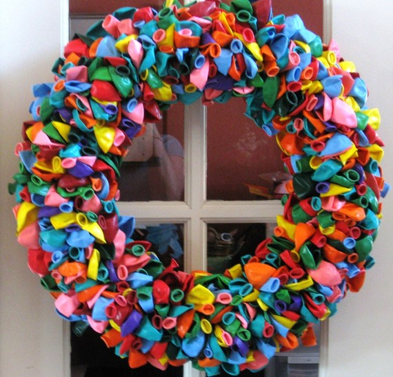 Etsy rainbow birthday balloon wreath from the gutsy goose