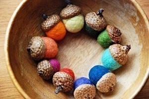 Etsy rainbow felted acorns from greenbaboon designs