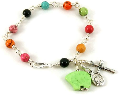 Etsy rainbow rosary bracelet from unbreakable rosaries