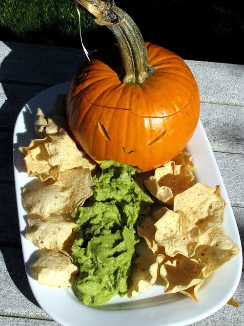 Puking pumpkin with chips