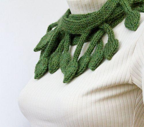 Birthday green knit leaf scarf from leafy design