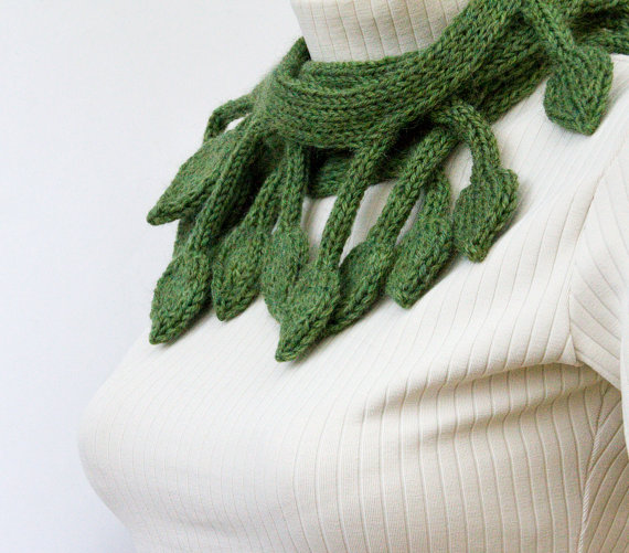 Birthday green knit leaf scarf from leafy design