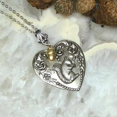 Acorn squirrel heart neckace from Acorn Heaven