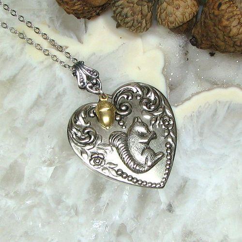 Acorn squirrel heart neckace from Acorn Heaven