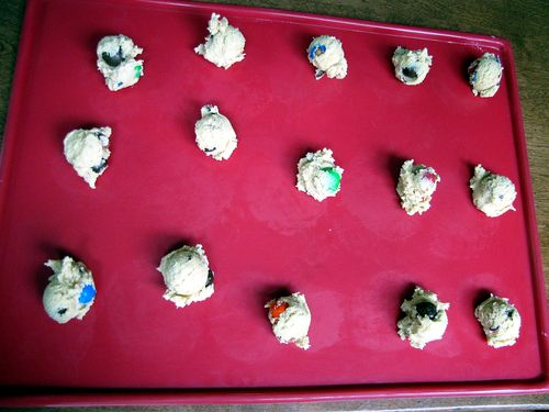 Pretzel m&m cookies on sheet