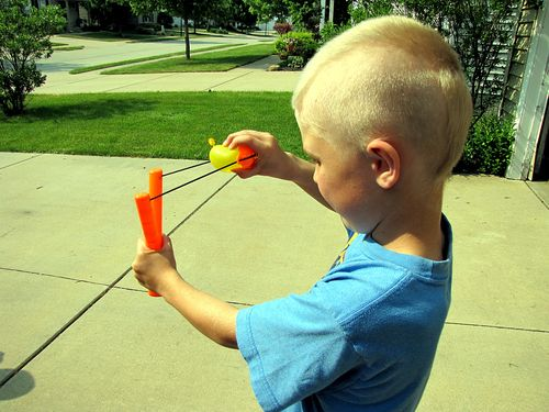 Angry birds balloon launcher