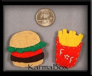 Karma box hamburger and french fries hair clip