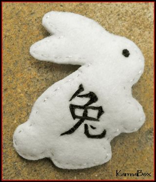 Karma box chinese new year zodiac rabbit hair clip