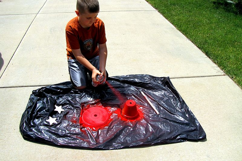 Patriotic father's day gift sun dial red spray paint