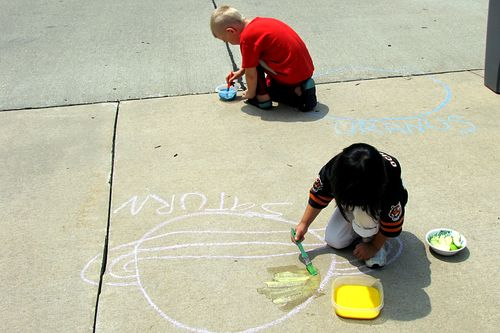 Sidewalk solar system painting planets