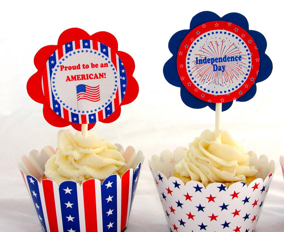 Fourth of july patriotic cupcake wrappers from thats a wrap 2