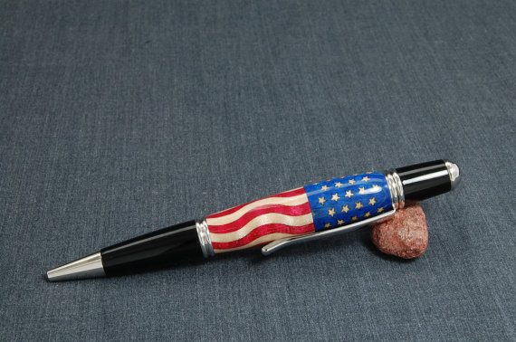 Fourth of july etsy flag hand crafted pen from 76 winger