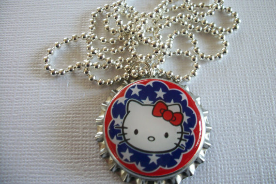 Fourth of july hello kitty bottle cap necklace presents by patience
