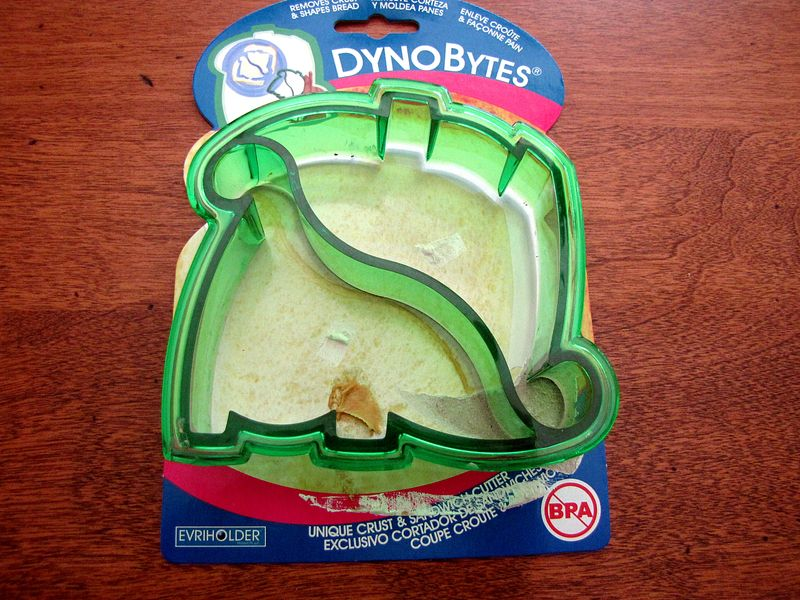 Dinosaur themed muffin tin lunch dynobites sandwich cutter