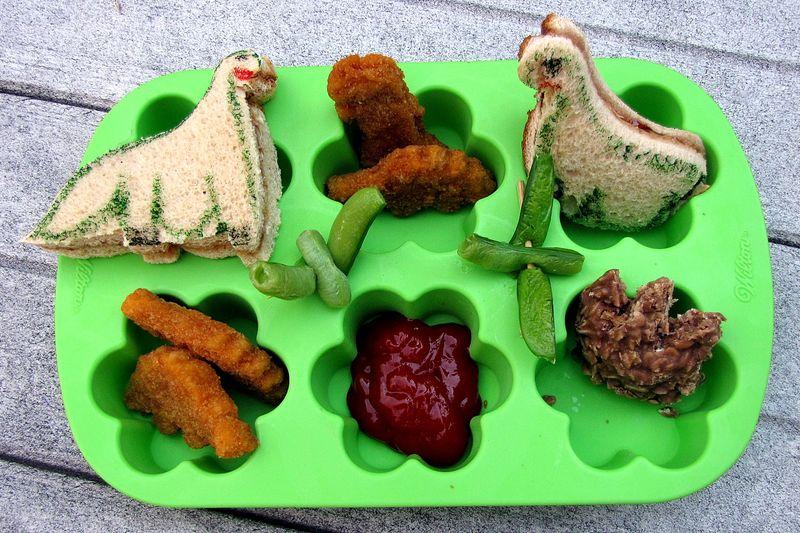 Dinosaur themed muffin tin lunch
